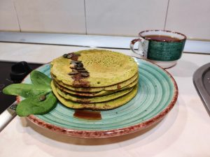 vegan gluten-free pancakes with spinach
