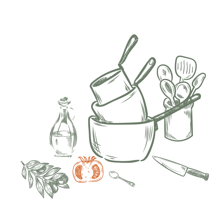 Purrrfect Kitchen Homepage illustration pots and ingredients
