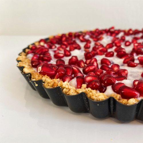 coconut yogurt pie with pomegranate